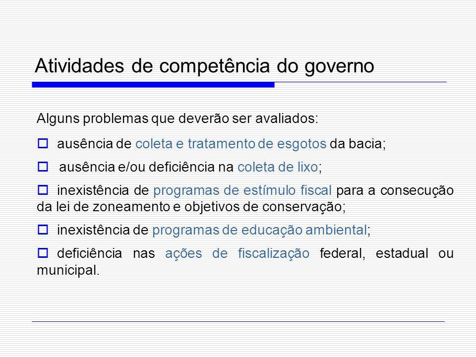 Atividades de competência do governo