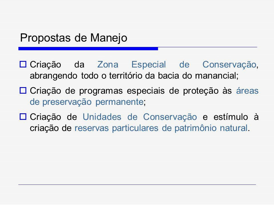 Propostas de Manejo Criação da Zona Especial de Conservação, abrangendo todo o território da bacia do manancial;
