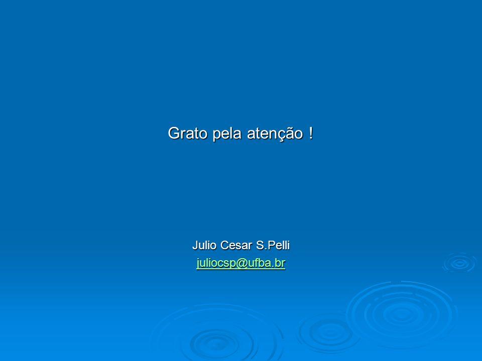 Grato pela atenção ! Julio Cesar S.Pelli juliocsp@ufba.br