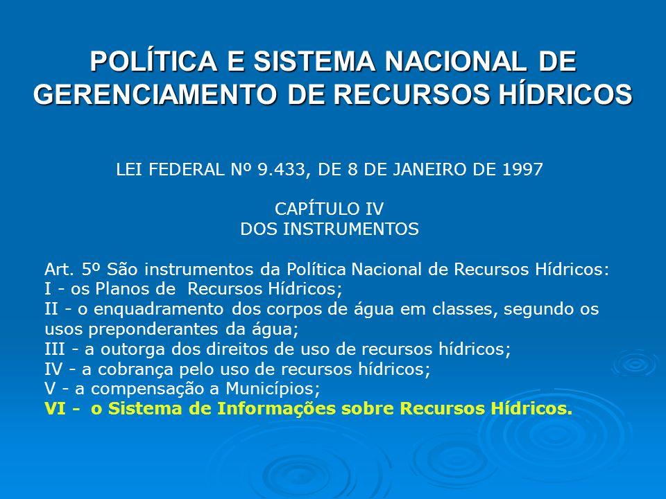POLÍTICA E SISTEMA NACIONAL DE GERENCIAMENTO DE RECURSOS HÍDRICOS