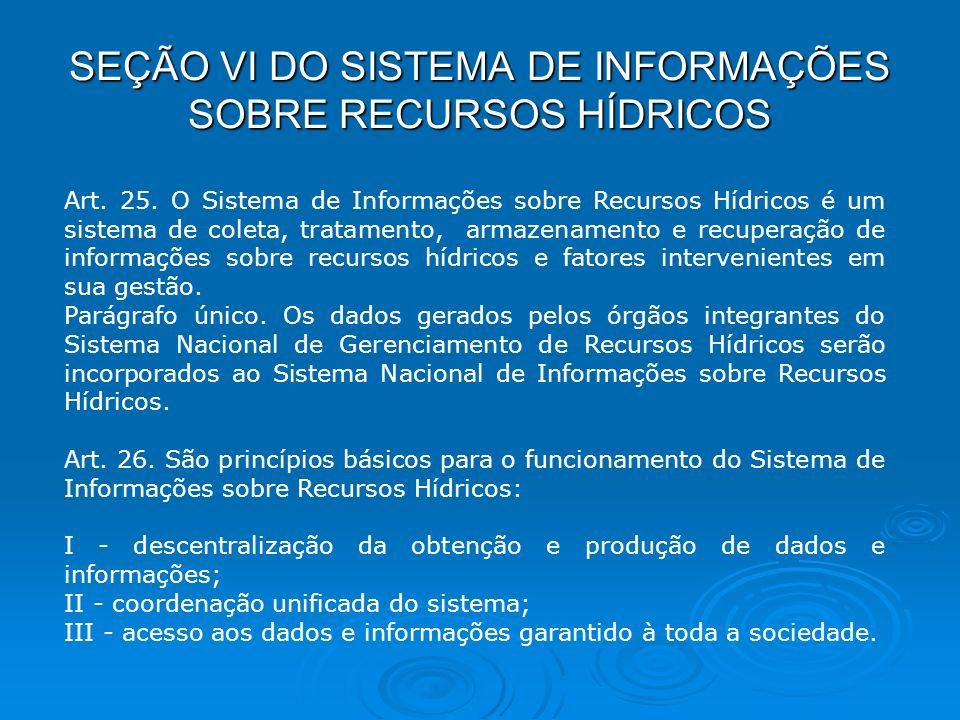 SEÇÃO VI DO SISTEMA DE INFORMAÇÕES SOBRE RECURSOS HÍDRICOS