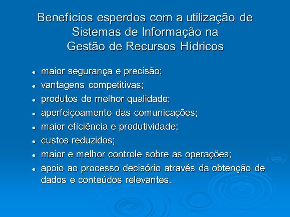 Benefícios esperdos com a utilização de Sistemas de Informação na Gestão de Recursos Hídricos