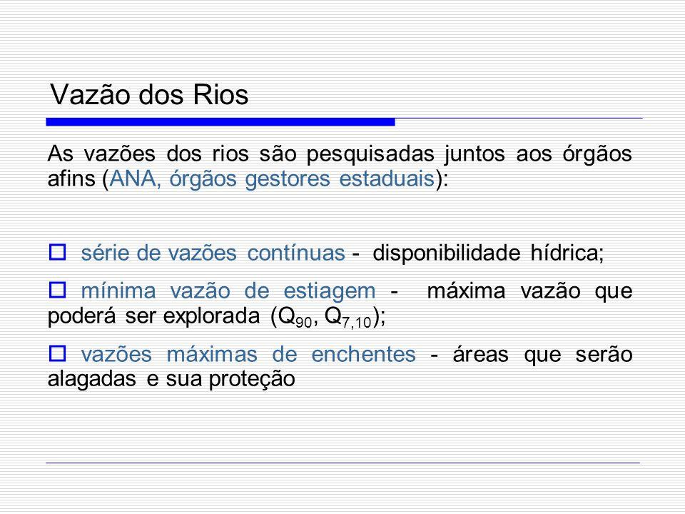 Vazão dos Rios As vazões dos rios são pesquisadas juntos aos órgãos afins (ANA, órgãos gestores estaduais):
