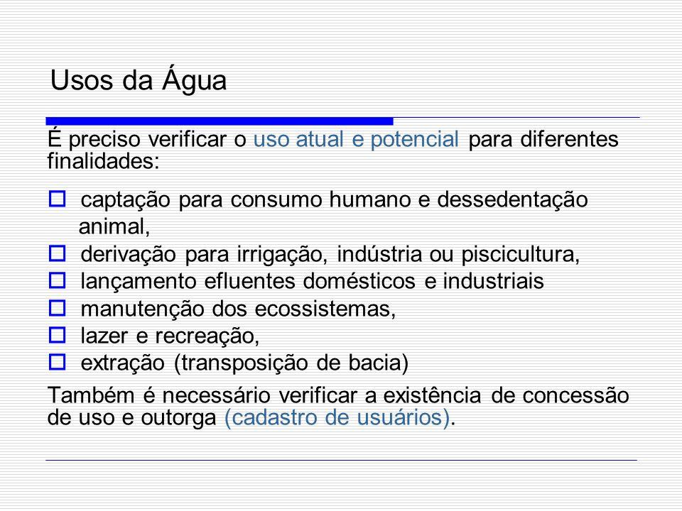Usos da Água É preciso verificar o uso atual e potencial para diferentes finalidades: captação para consumo humano e dessedentação.