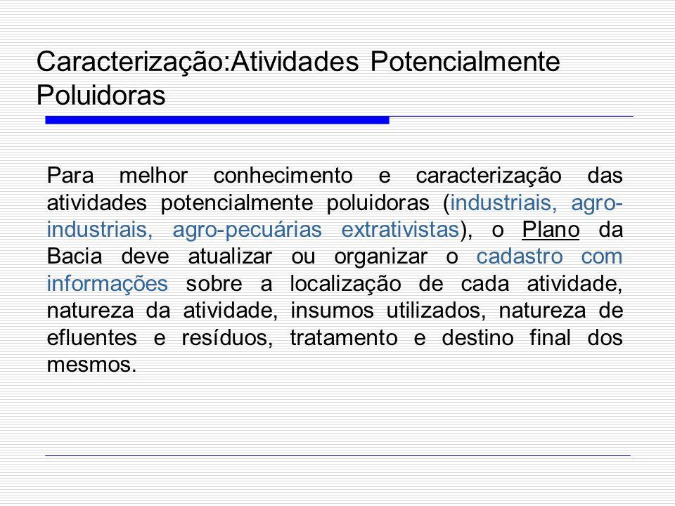 Caracterização:Atividades Potencialmente Poluidoras