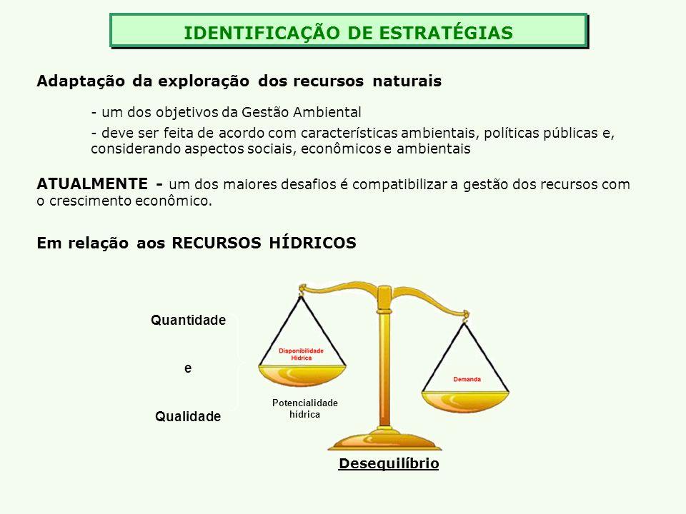 IDENTIFICAÇÃO DE ESTRATÉGIAS Potencialidade hídrica