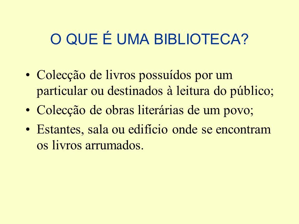 O QUE É UMA BIBLIOTECA Colecção de livros possuídos por um particular ou destinados à leitura do público;
