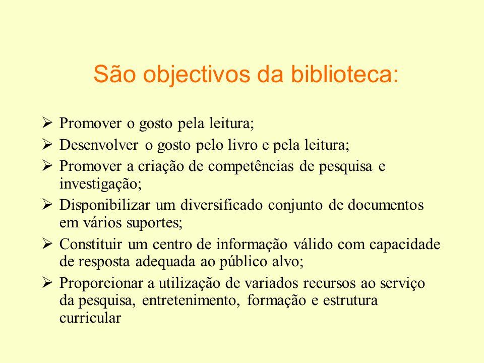 São objectivos da biblioteca: