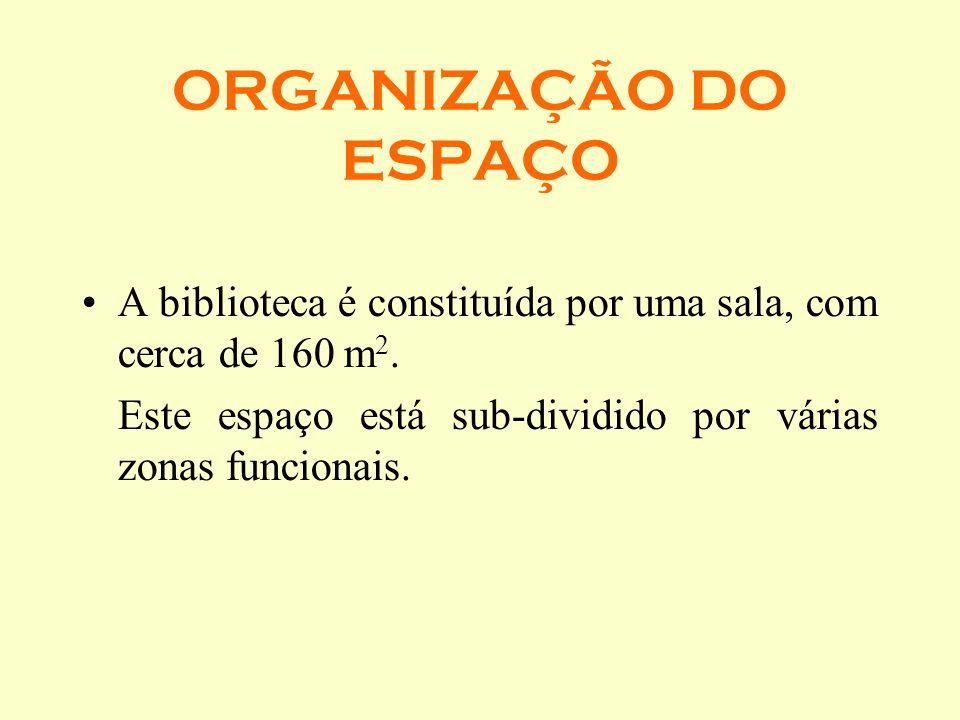 ORGANIZAÇÃO DO ESPAÇO A biblioteca é constituída por uma sala, com cerca de 160 m2.