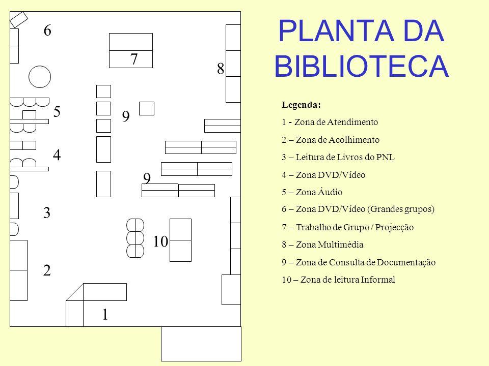 PLANTA DA BIBLIOTECA 6 7 8 5 9 4 9 3 10 2 1 Legenda:
