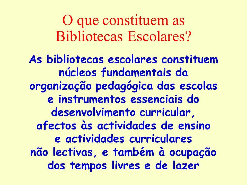 O que constituem as Bibliotecas Escolares