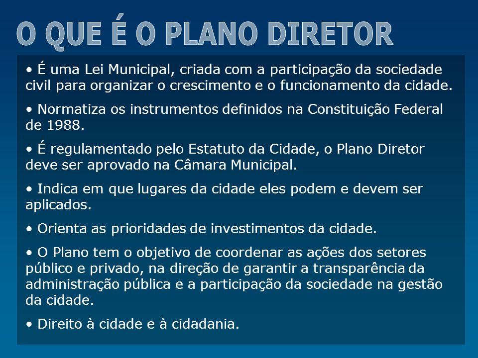 O QUE É O PLANO DIRETOR É uma Lei Municipal, criada com a participação da sociedade civil para organizar o crescimento e o funcionamento da cidade.