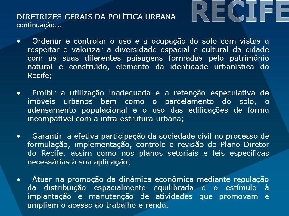 RECIFE DIRETRIZES GERAIS DA POLÍTICA URBANA