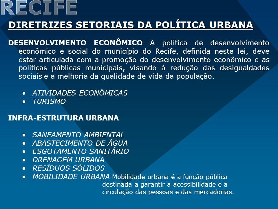 RECIFE DIRETRIZES SETORIAIS DA POLÍTICA URBANA
