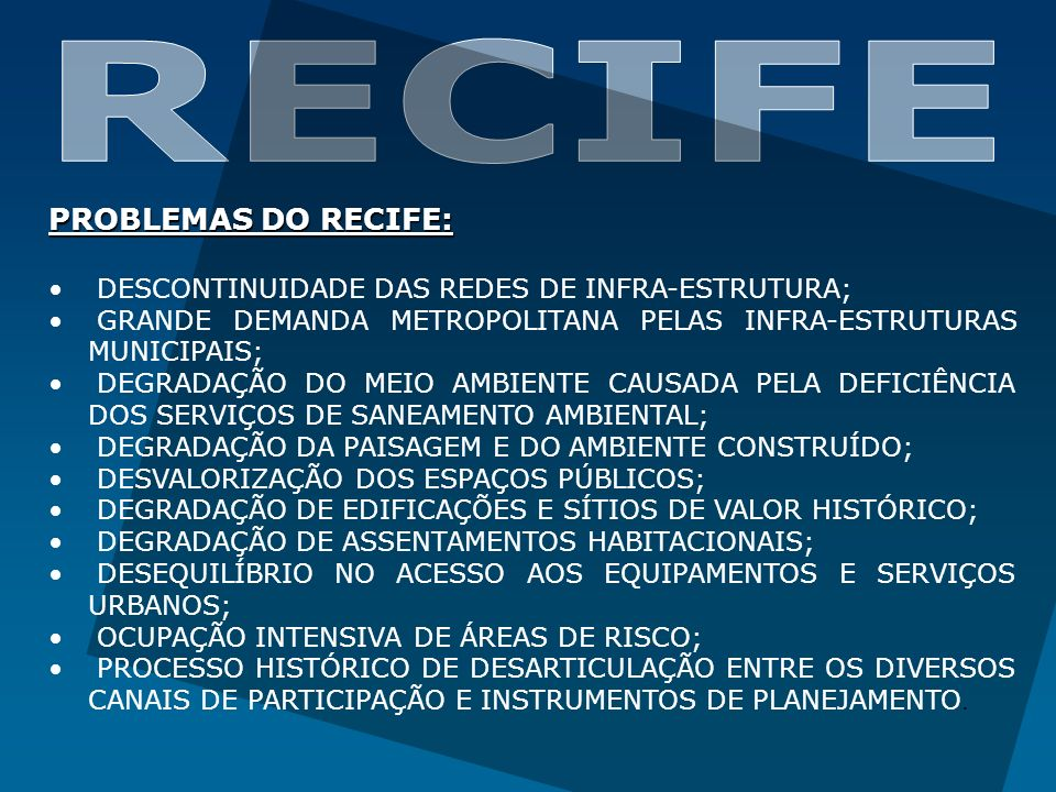 RECIFE PROBLEMAS DO RECIFE: