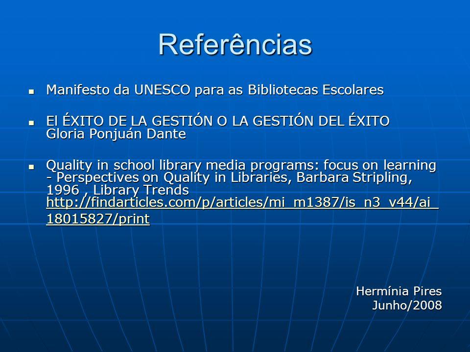 Referências Manifesto da UNESCO para as Bibliotecas Escolares