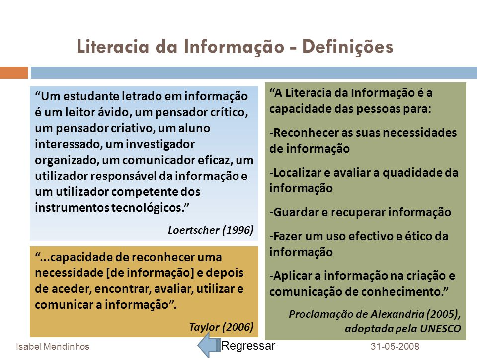 Literacia da Informação - Definições