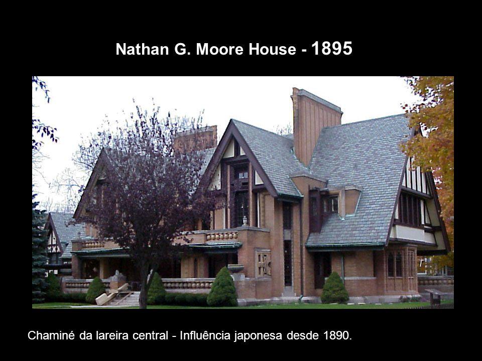 Nathan G. Moore House - 1895 Chaminé da lareira central - Influência japonesa desde 1890.
