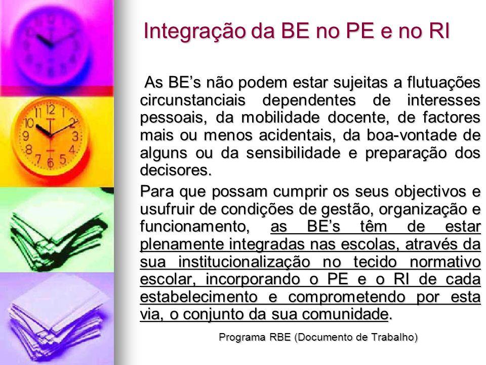 Integração da BE no PE e no RI