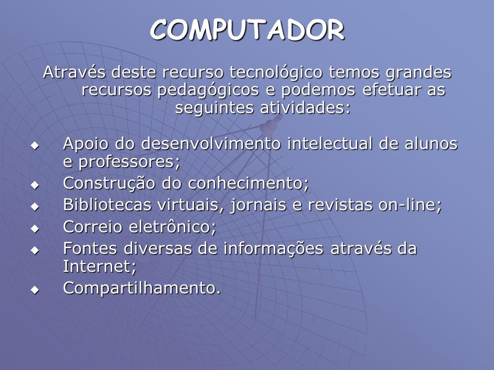 COMPUTADOR Através deste recurso tecnológico temos grandes recursos pedagógicos e podemos efetuar as seguintes atividades:
