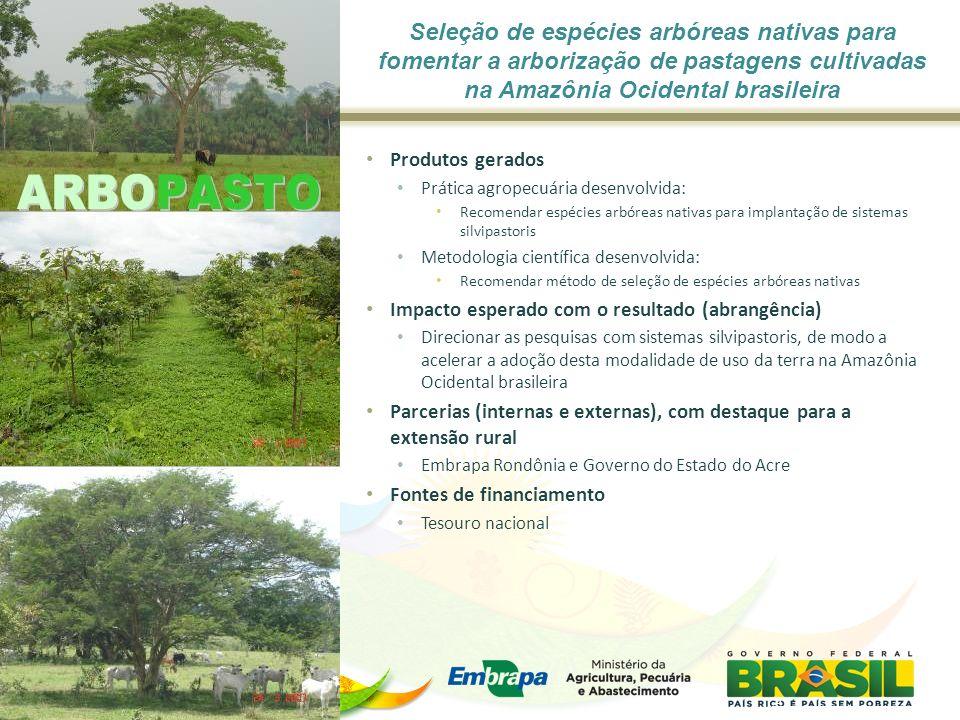 Seleção de espécies arbóreas nativas para fomentar a arborização de pastagens cultivadas na Amazônia Ocidental brasileira