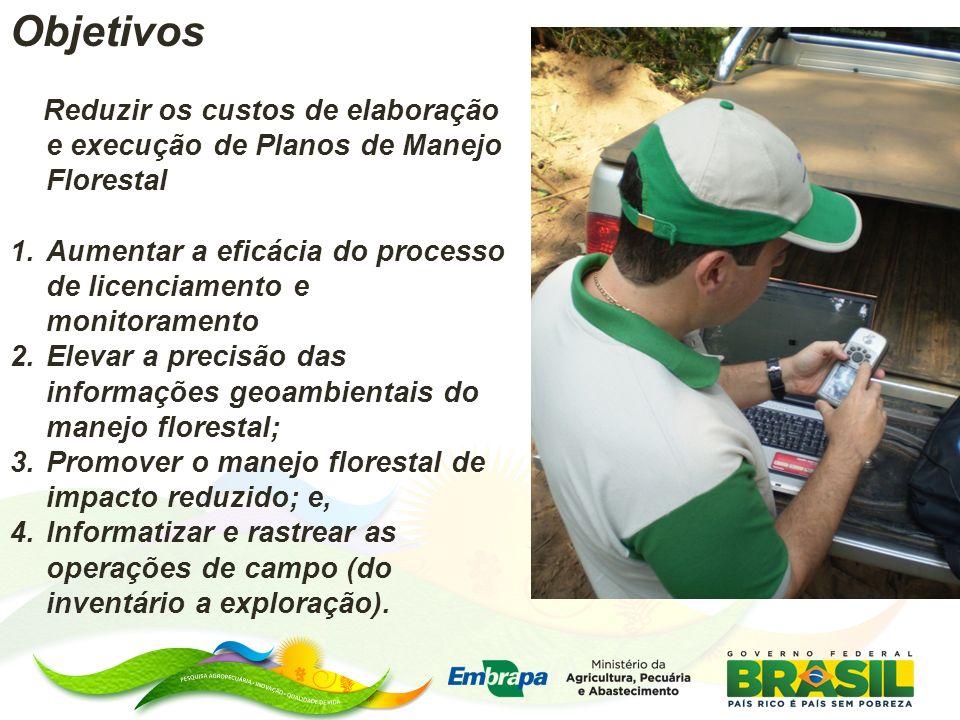 Objetivos Reduzir os custos de elaboração e execução de Planos de Manejo Florestal. Aumentar a eficácia do processo de licenciamento e monitoramento.
