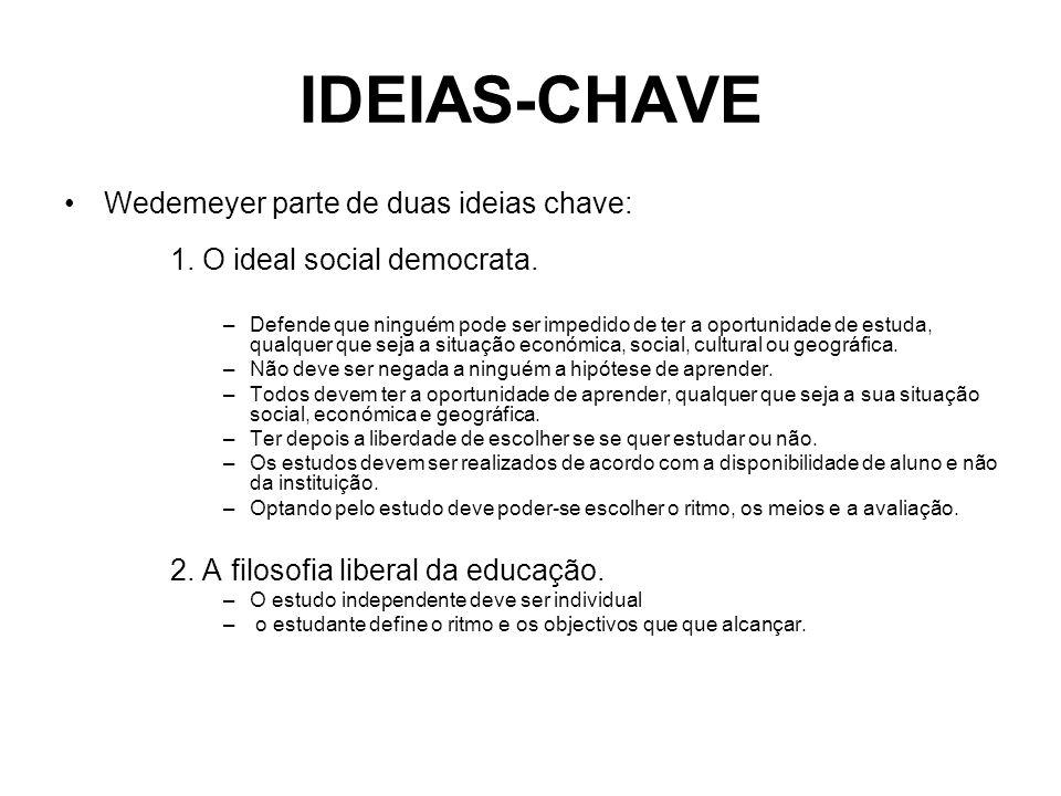 IDEIAS-CHAVE Wedemeyer parte de duas ideias chave: 1. O ideal social democrata.