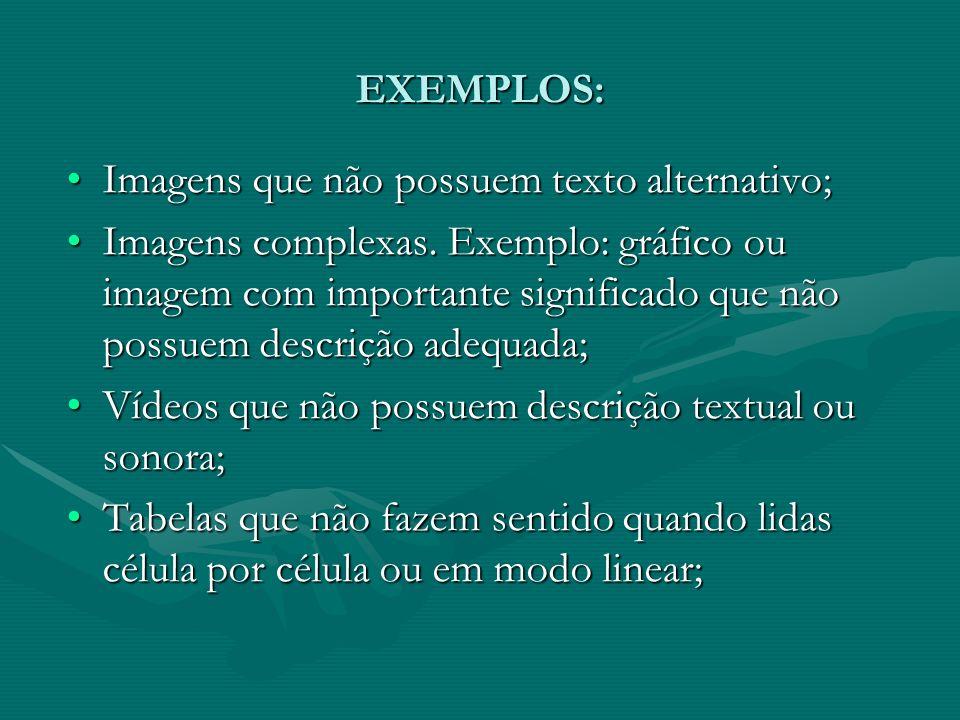 EXEMPLOS: Imagens que não possuem texto alternativo;