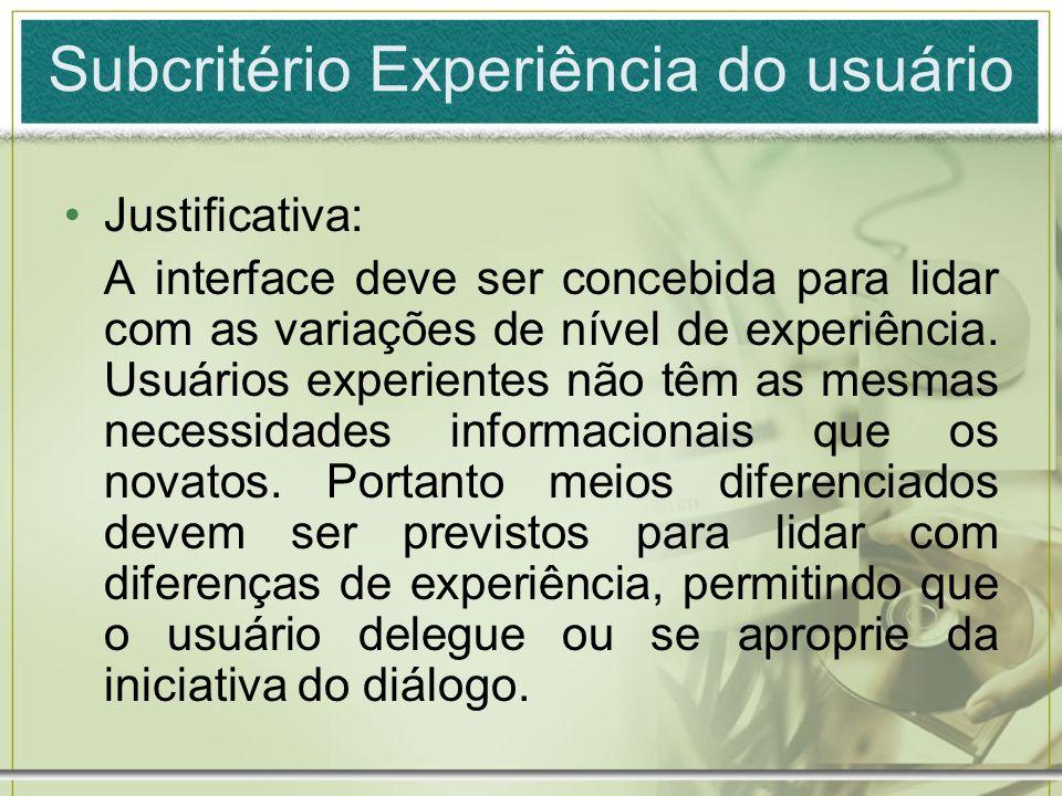 Subcritério Experiência do usuário