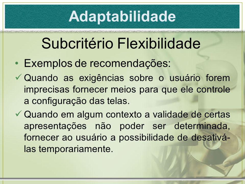 Subcritério Flexibilidade