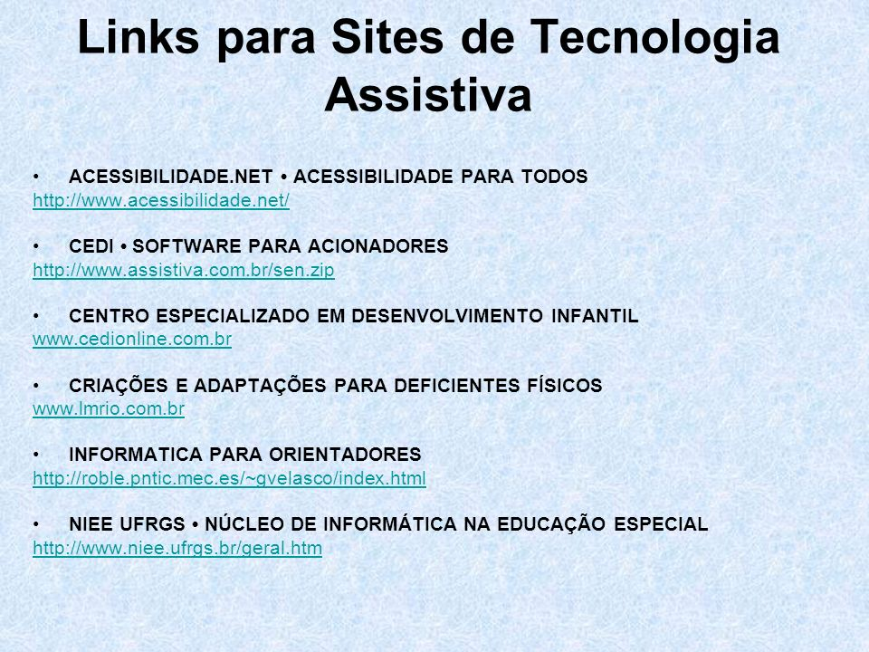 Links para Sites de Tecnologia Assistiva