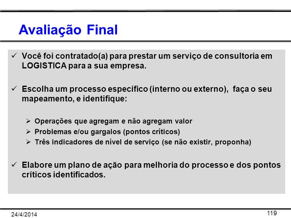 Avaliação Final Você foi contratado(a) para prestar um serviço de consultoria em LOGISTICA para a sua empresa.