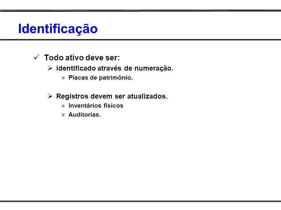 Identificação Todo ativo deve ser: identificado através de numeração.