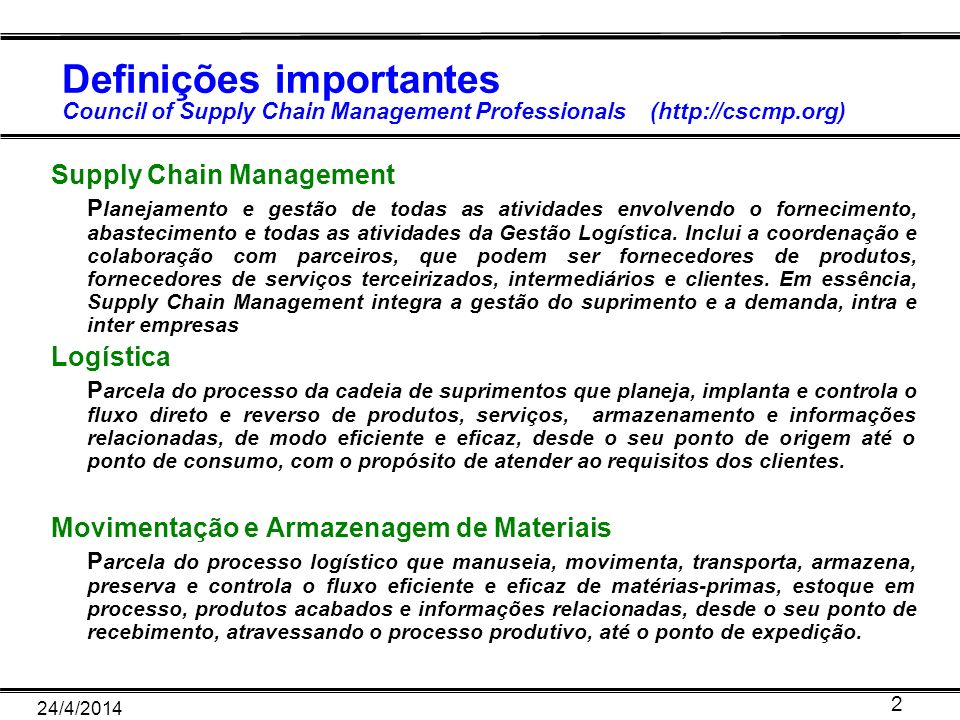 Definições importantes Council of Supply Chain Management Professionals (http://cscmp.org)