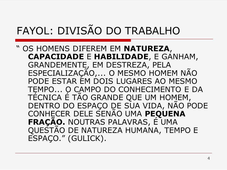 FAYOL: DIVISÃO DO TRABALHO