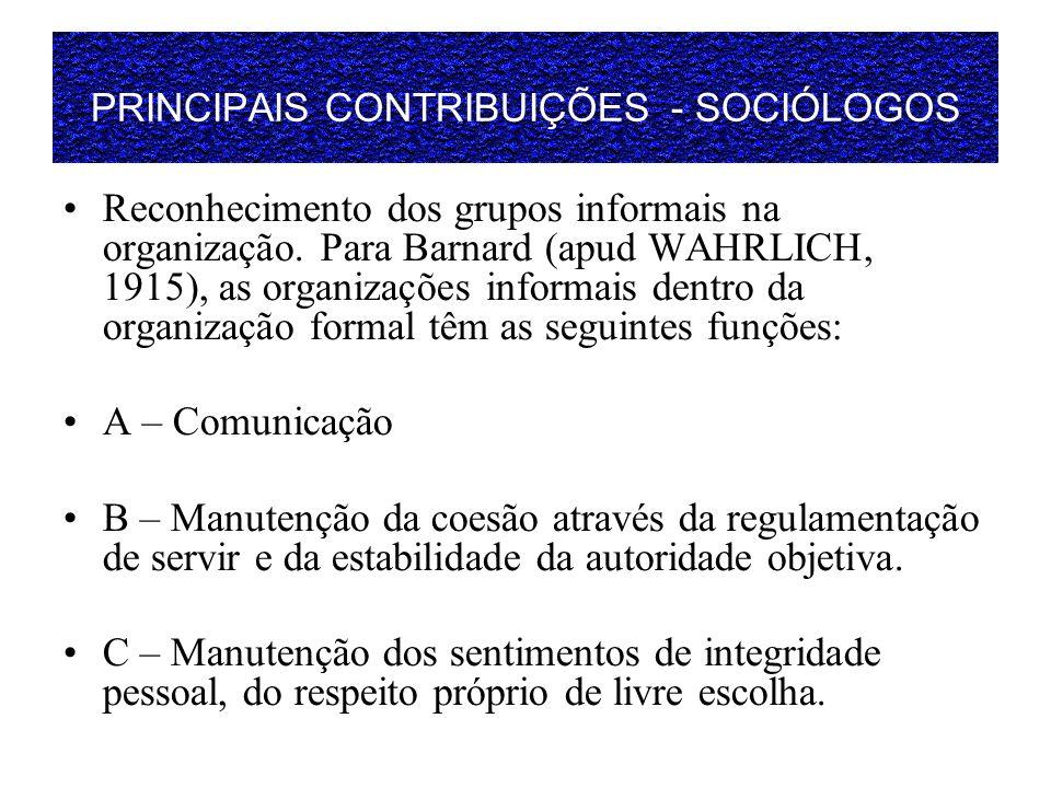 PRINCIPAIS CONTRIBUIÇÕES - SOCIÓLOGOS