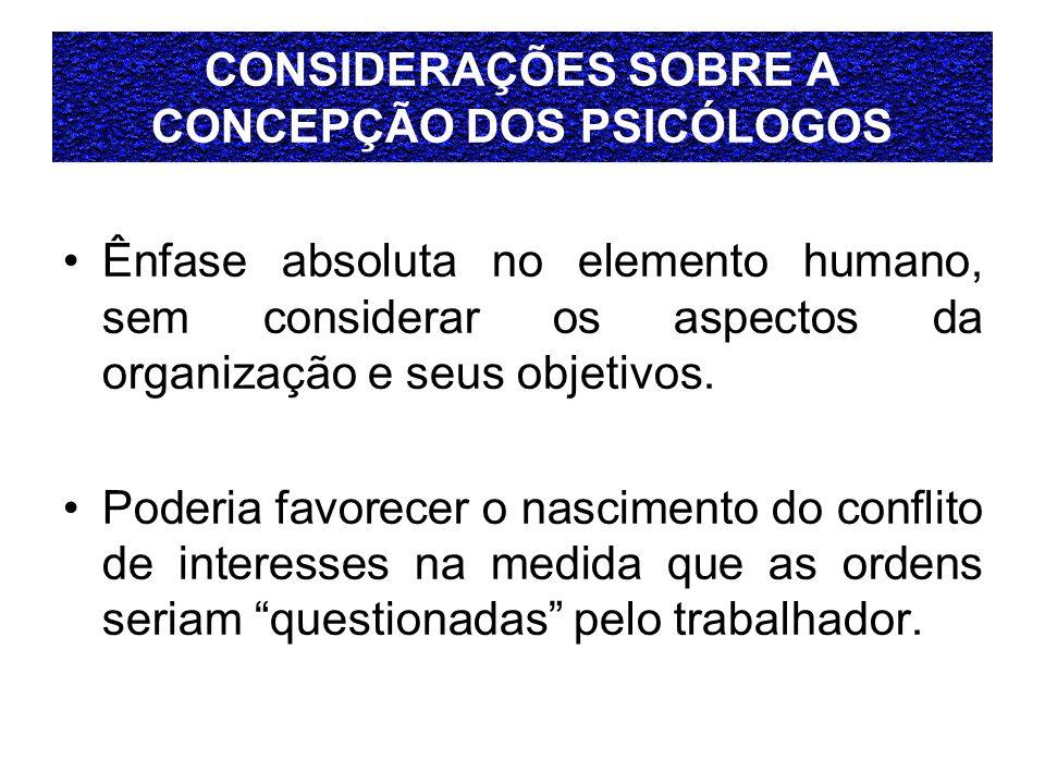 CONSIDERAÇÕES SOBRE A CONCEPÇÃO DOS PSICÓLOGOS