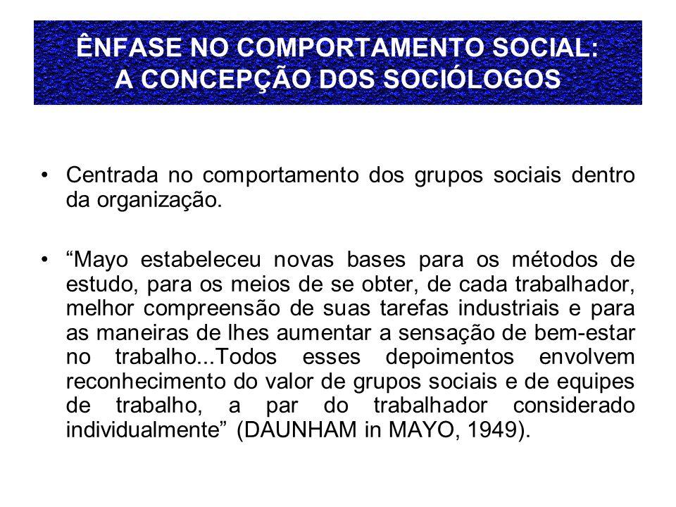 ÊNFASE NO COMPORTAMENTO SOCIAL: A CONCEPÇÃO DOS SOCIÓLOGOS