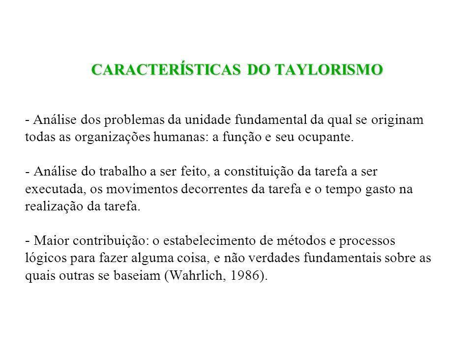 CARACTERÍSTICAS DO TAYLORISMO - Análise dos problemas da unidade fundamental da qual se originam todas as organizações humanas: a função e seu ocupante.