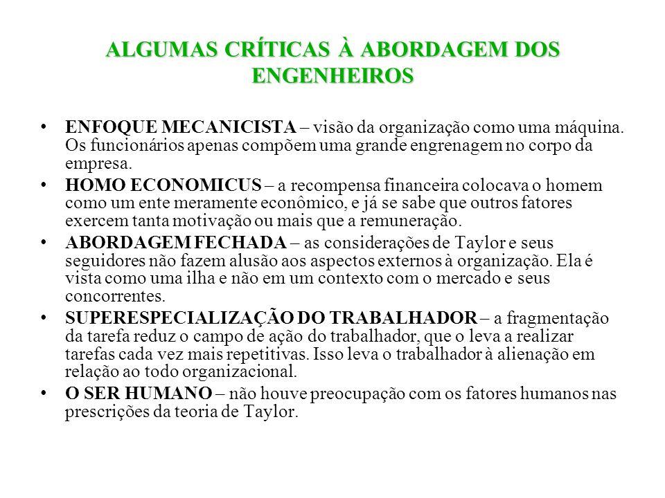 ALGUMAS CRÍTICAS À ABORDAGEM DOS ENGENHEIROS