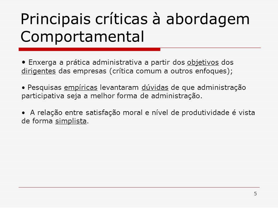 Principais críticas à abordagem Comportamental