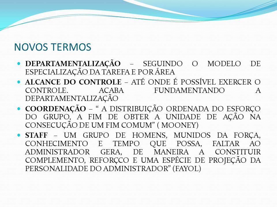 NOVOS TERMOS DEPARTAMENTALIZAÇÃO – SEGUINDO O MODELO DE ESPECIALIZAÇÃO DA TAREFA E POR ÁREA.