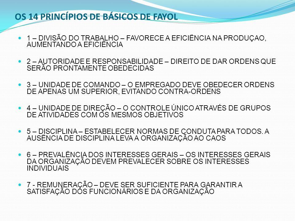 OS 14 PRINCÍPIOS DE BÁSICOS DE FAYOL