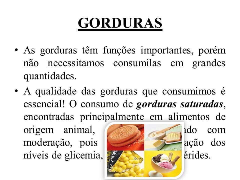 GORDURAS As gorduras têm funções importantes, porém não necessitamos consumilas em grandes quantidades.