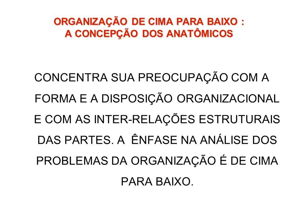 ORGANIZAÇÃO DE CIMA PARA BAIXO : A CONCEPÇÃO DOS ANATÔMICOS