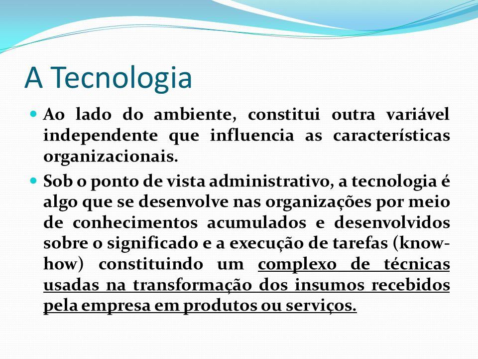 A TecnologiaAo lado do ambiente, constitui outra variável independente que influencia as características organizacionais.