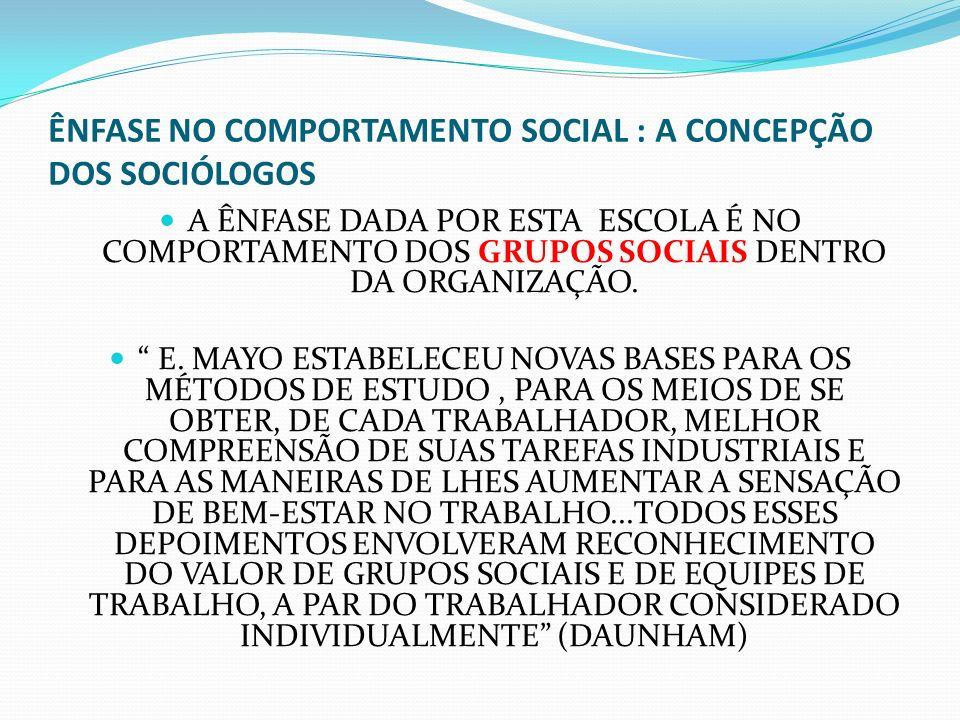 ÊNFASE NO COMPORTAMENTO SOCIAL : A CONCEPÇÃO DOS SOCIÓLOGOS