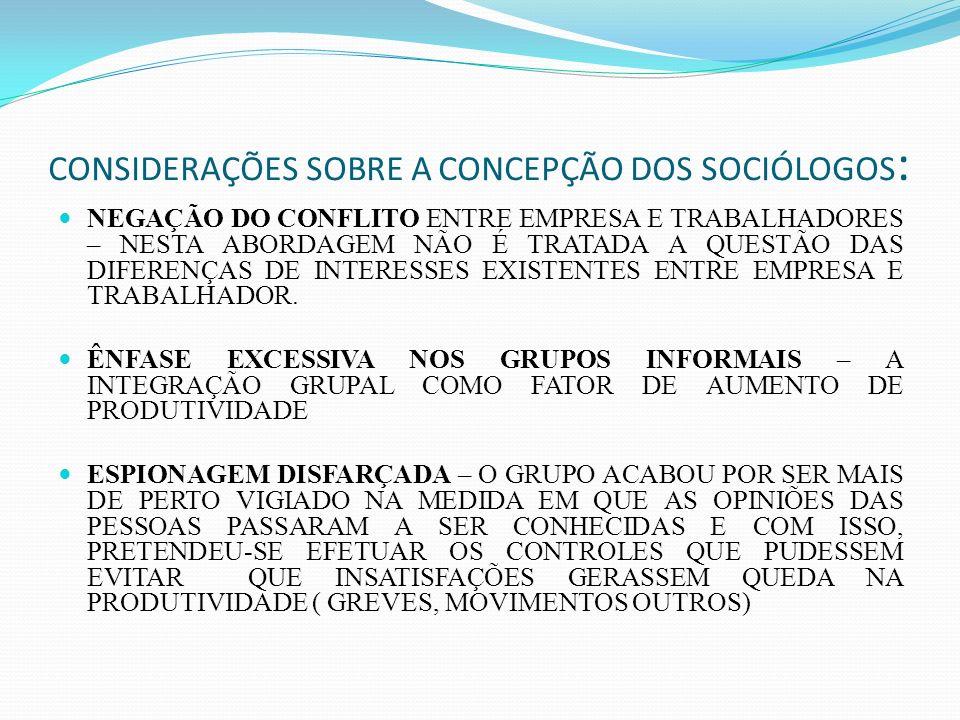 CONSIDERAÇÕES SOBRE A CONCEPÇÃO DOS SOCIÓLOGOS: