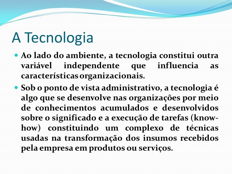 A TecnologiaAo lado do ambiente, a tecnologia constitui outra variável independente que influencia as características organizacionais.
