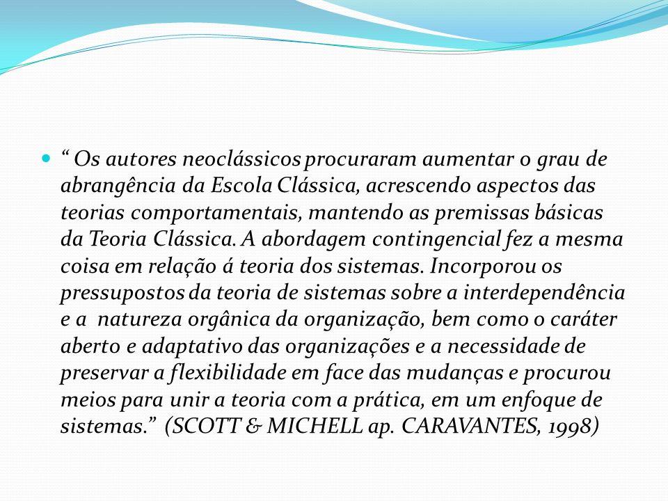 Os autores neoclássicos procuraram aumentar o grau de abrangência da Escola Clássica, acrescendo aspectos das teorias comportamentais, mantendo as premissas básicas da Teoria Clássica.